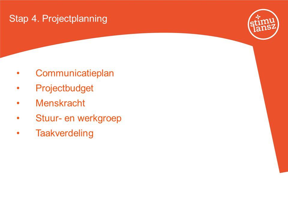 Stap 4. Projectplanning Communicatieplan Projectbudget Menskracht