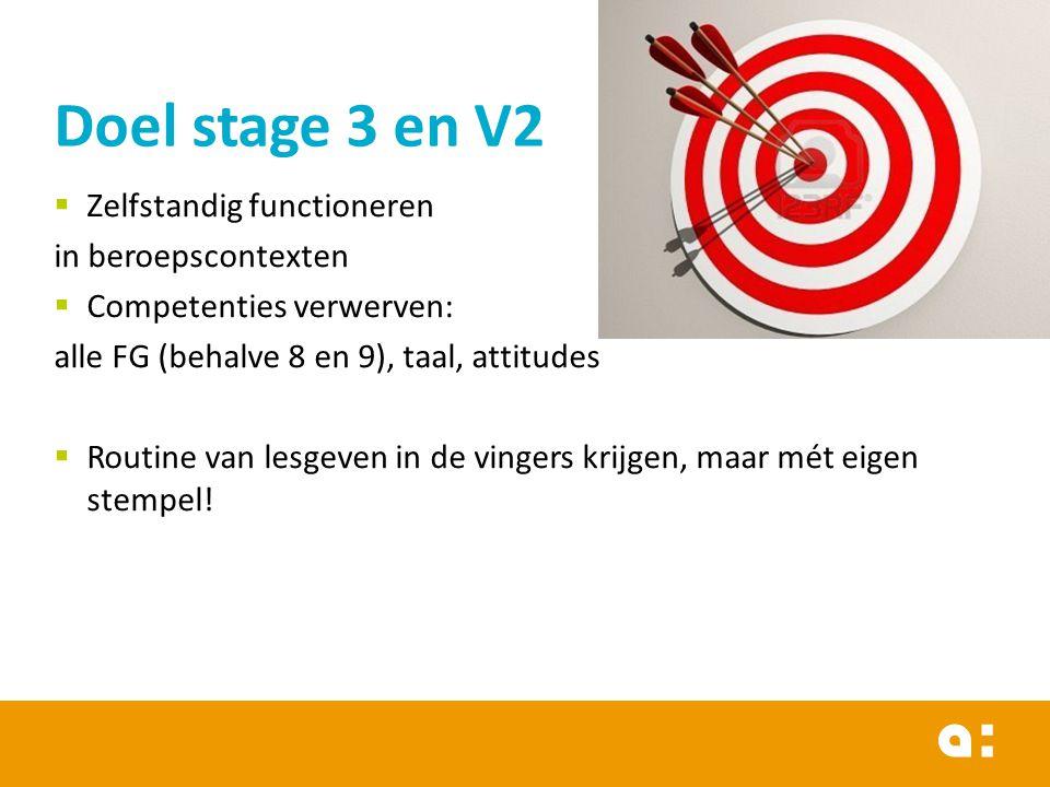 Doel stage 3 en V2 Zelfstandig functioneren in beroepscontexten