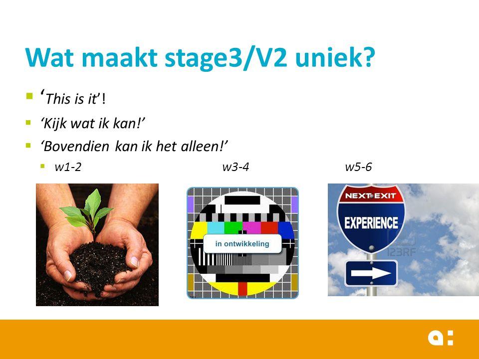 Wat maakt stage3/V2 uniek