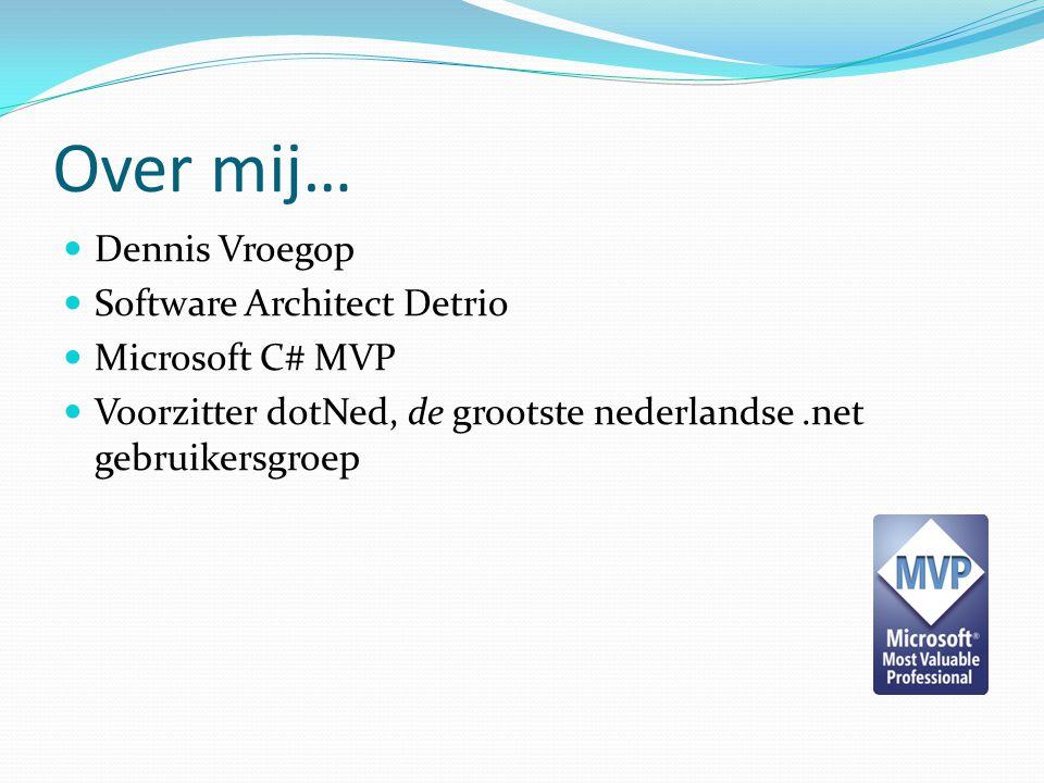 Over mij… Dennis Vroegop Software Architect Detrio Microsoft C# MVP