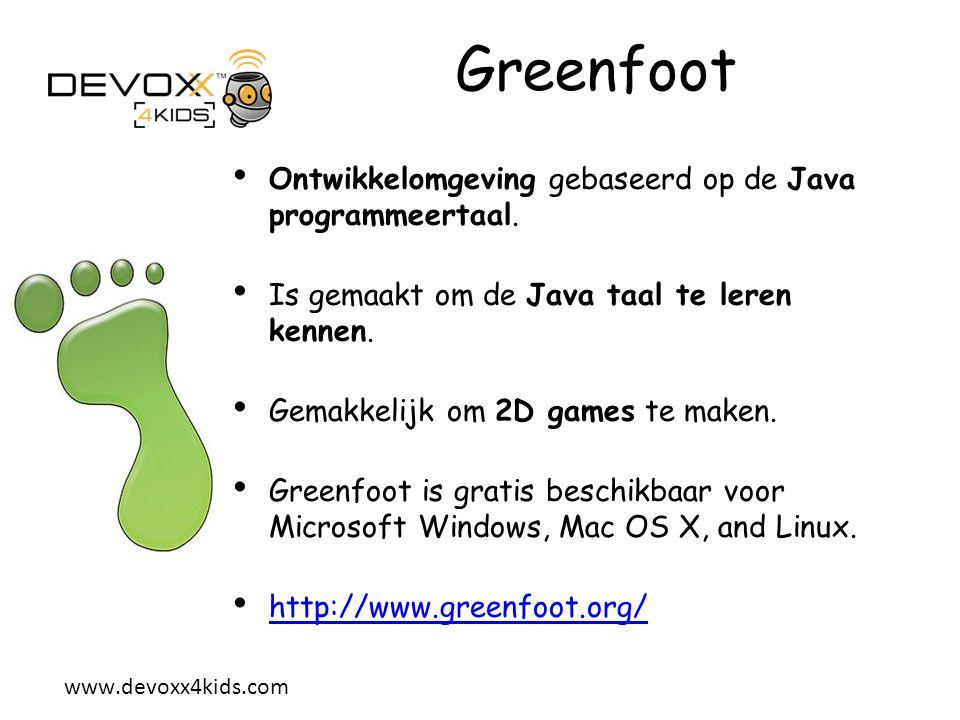 Greenfoot Ontwikkelomgeving gebaseerd op de Java programmeertaal.