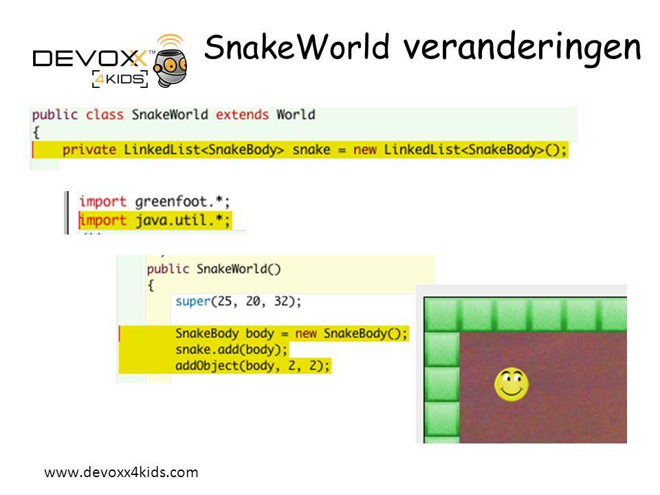 SnakeWorld veranderingen