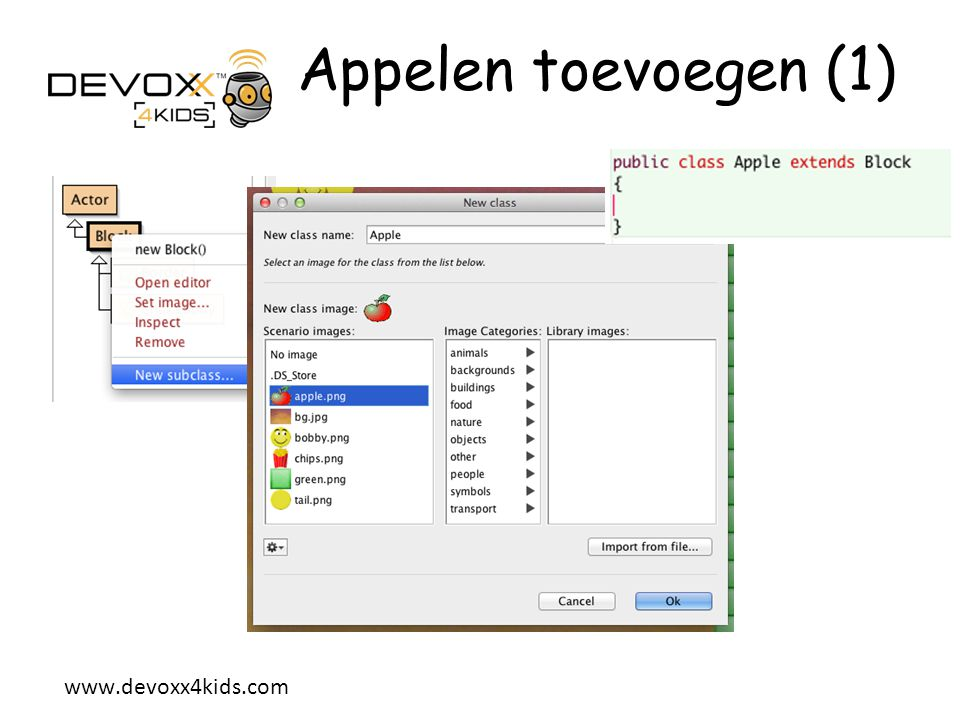 Appelen toevoegen (1) Let's add now a new subclass of Block and name it Apple. Choose the apple.png image.