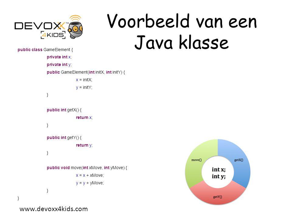 Voorbeeld van een Java klasse