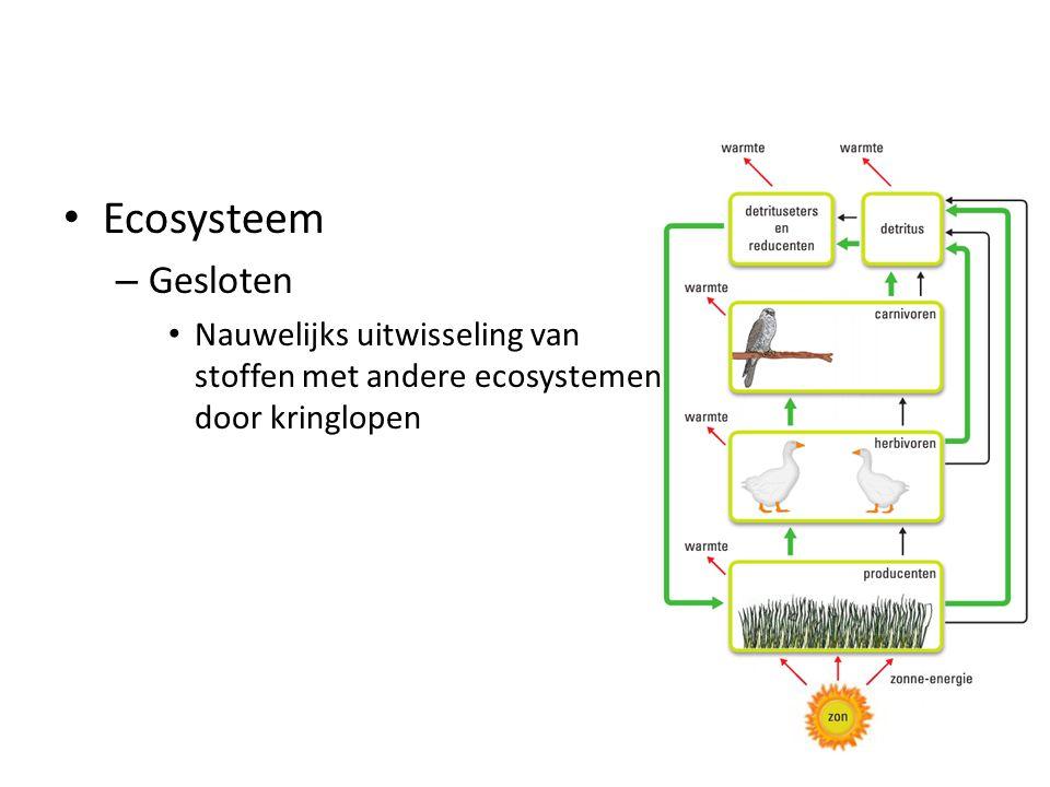 Ecosysteem Gesloten Nauwelijks uitwisseling van stoffen met andere ecosystemen door kringlopen