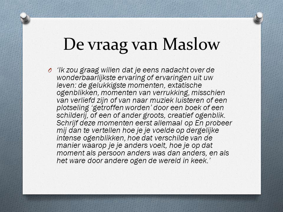 De vraag van Maslow