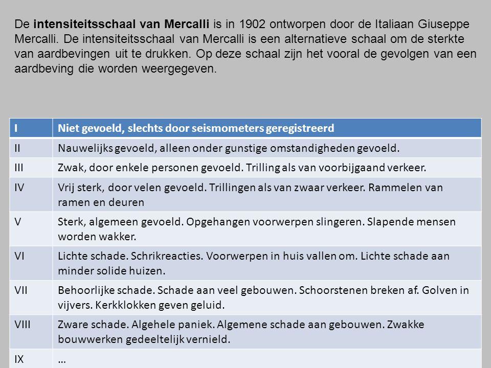 De intensiteitsschaal van Mercalli is in 1902 ontworpen door de Italiaan Giuseppe Mercalli. De intensiteitsschaal van Mercalli is een alternatieve schaal om de sterkte van aardbevingen uit te drukken. Op deze schaal zijn het vooral de gevolgen van een aardbeving die worden weergegeven.