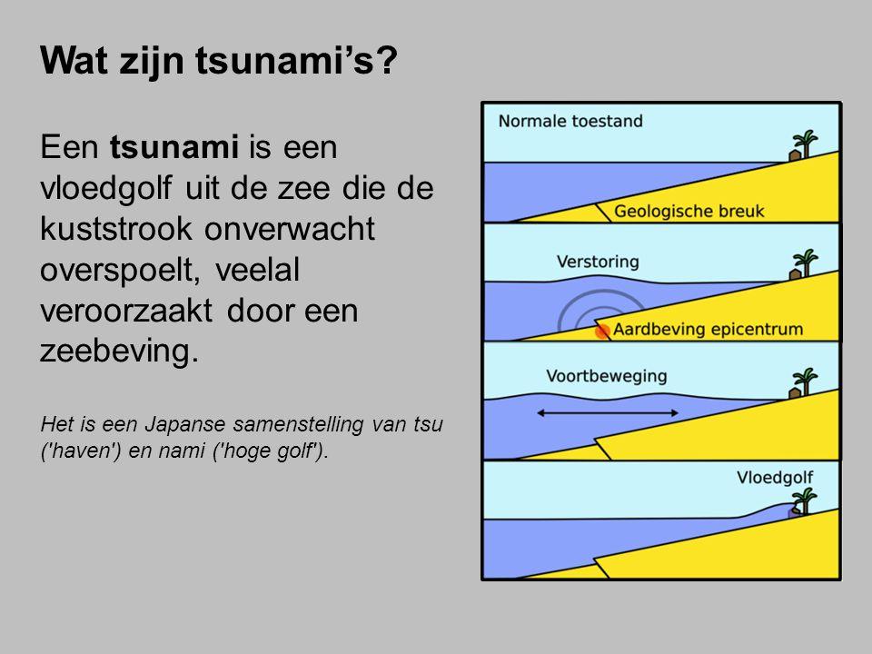 Wat zijn tsunami's Een tsunami is een vloedgolf uit de zee die de kuststrook onverwacht overspoelt, veelal veroorzaakt door een zeebeving.