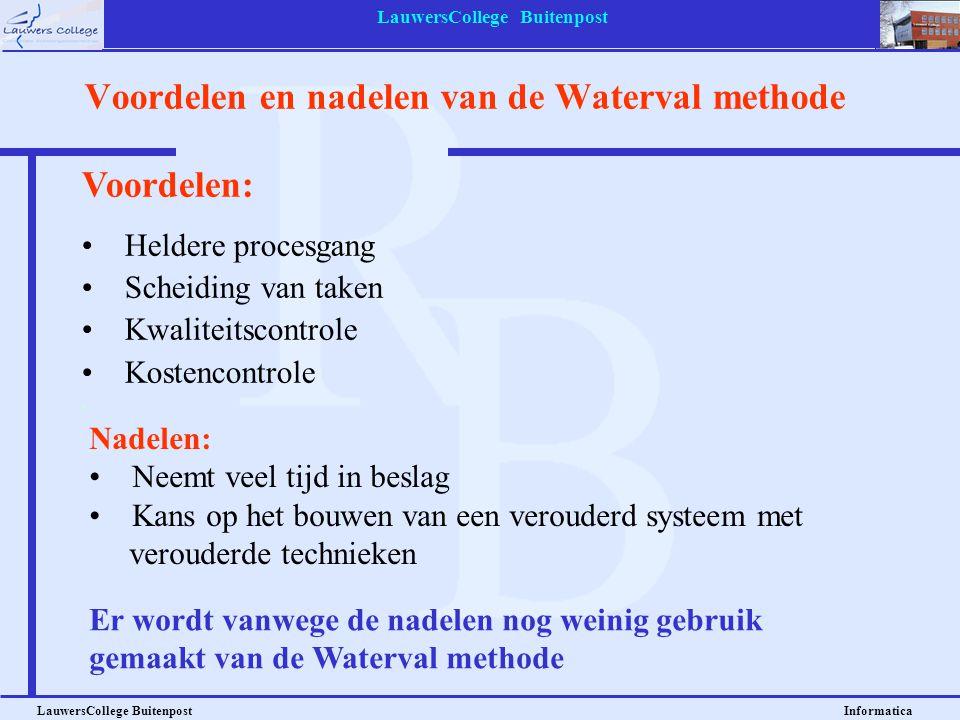 Voordelen en nadelen van de Waterval methode