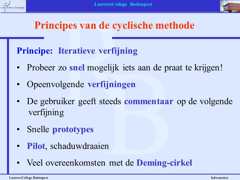 Principes van de cyclische methode