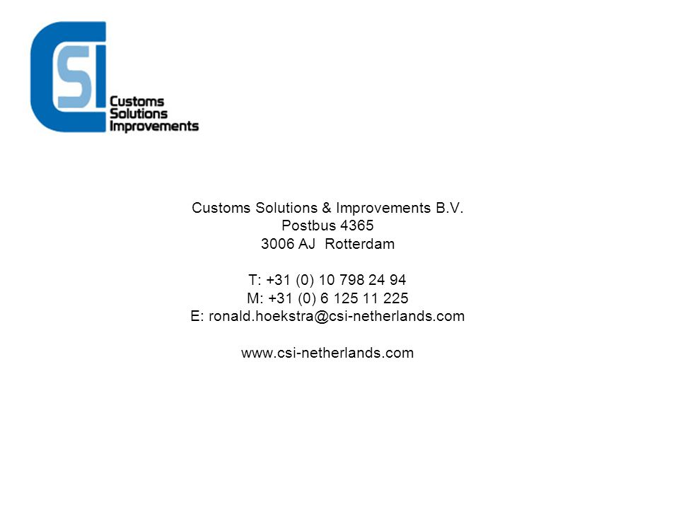 Customs Solutions & Improvements B. V