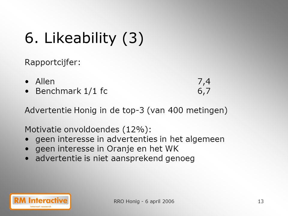 6. Likeability (3) Rapportcijfer: Allen 7,4 Benchmark 1/1 fc 6,7