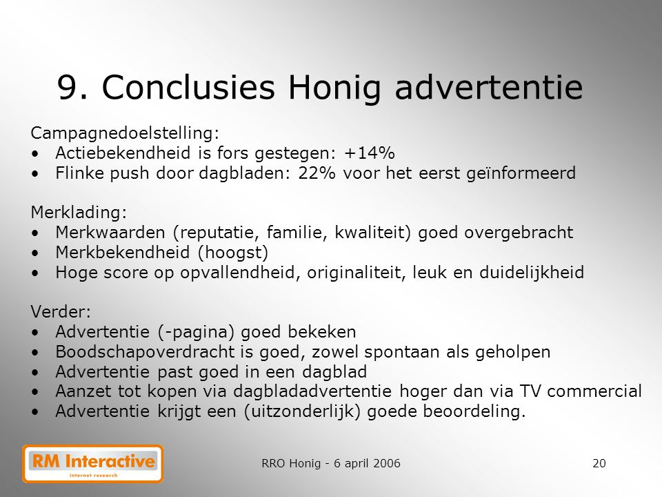 9. Conclusies Honig advertentie