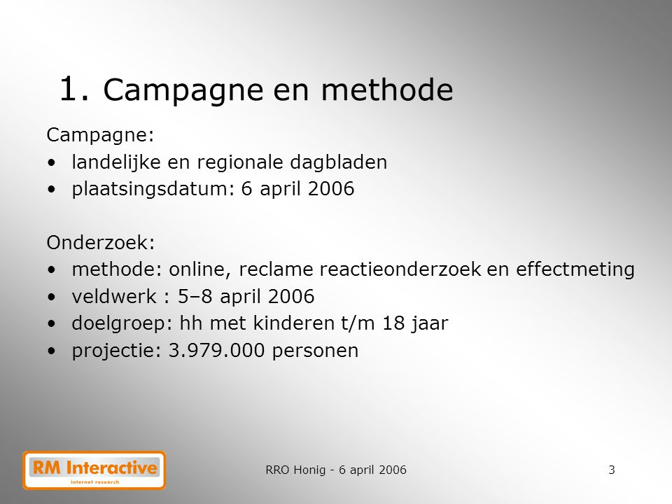 1. Campagne en methode Campagne: landelijke en regionale dagbladen