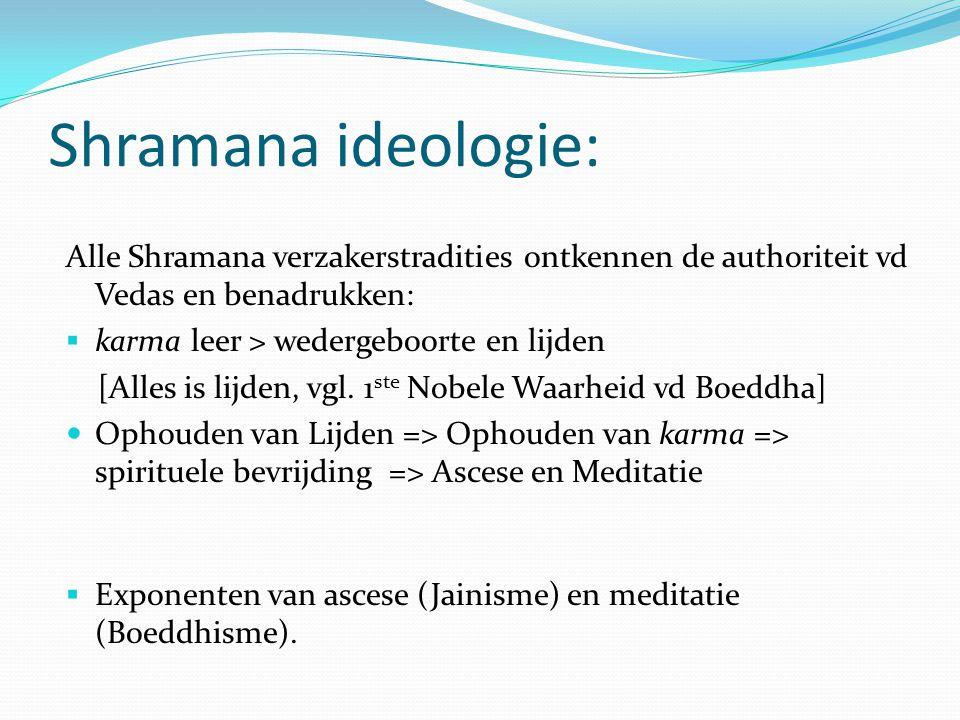 Shramana ideologie: Alle Shramana verzakerstradities ontkennen de authoriteit vd Vedas en benadrukken: