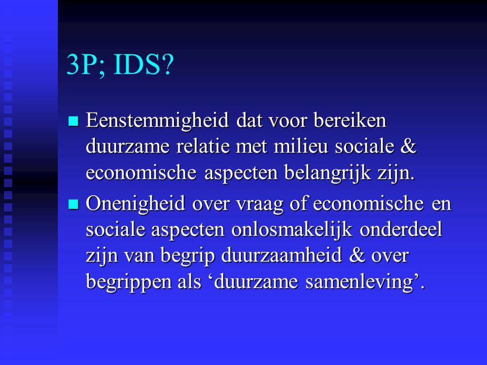 3P; IDS Eenstemmigheid dat voor bereiken duurzame relatie met milieu sociale & economische aspecten belangrijk zijn.