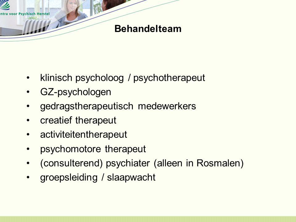 Behandelteam klinisch psycholoog / psychotherapeut. GZ-psychologen. gedragstherapeutisch medewerkers.