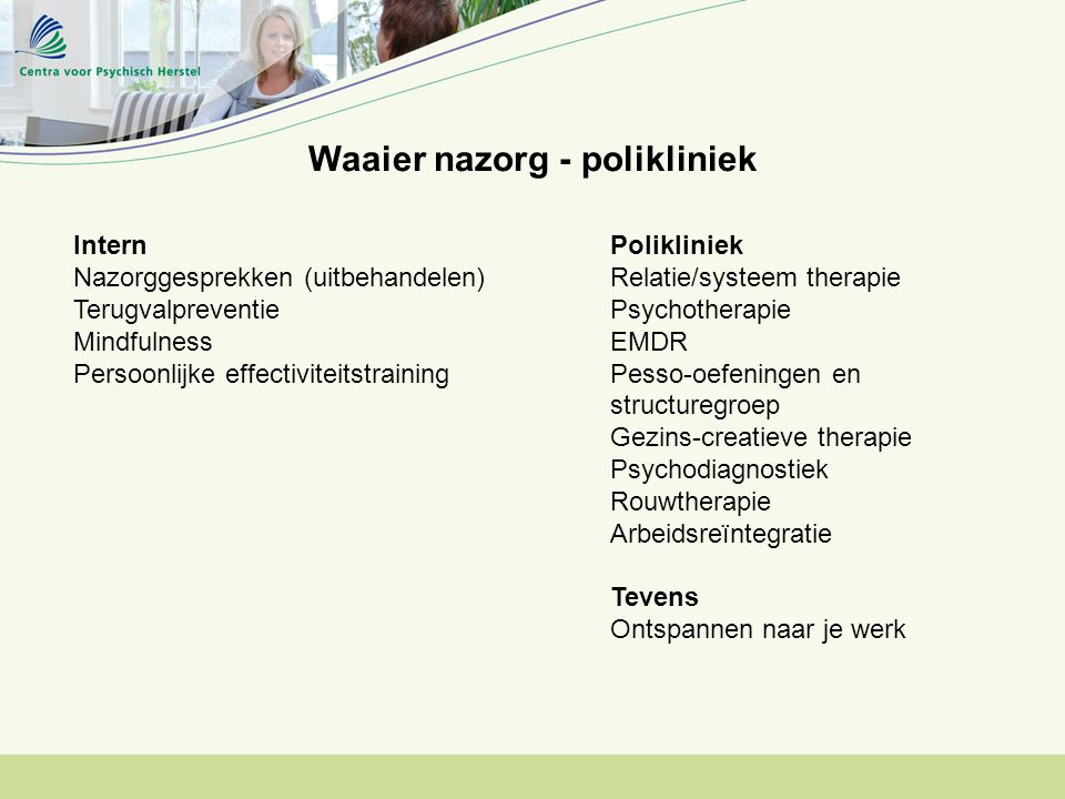 Waaier nazorg - polikliniek