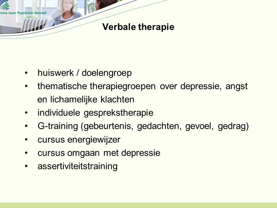 Verbale therapie huiswerk / doelengroep. thematische therapiegroepen over depressie, angst. en lichamelijke klachten.