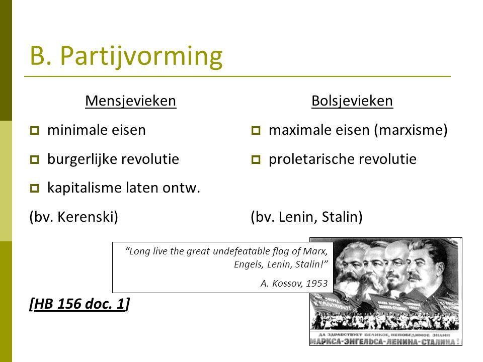 B. Partijvorming Mensjevieken minimale eisen burgerlijke revolutie