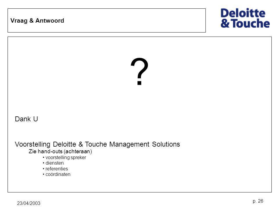 Dank U Voorstelling Deloitte & Touche Management Solutions