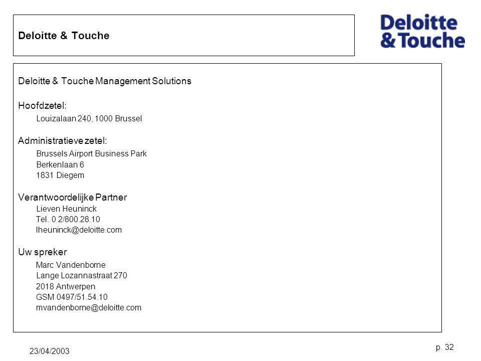 Deloitte & Touche Deloitte & Touche Management Solutions Hoofdzetel: