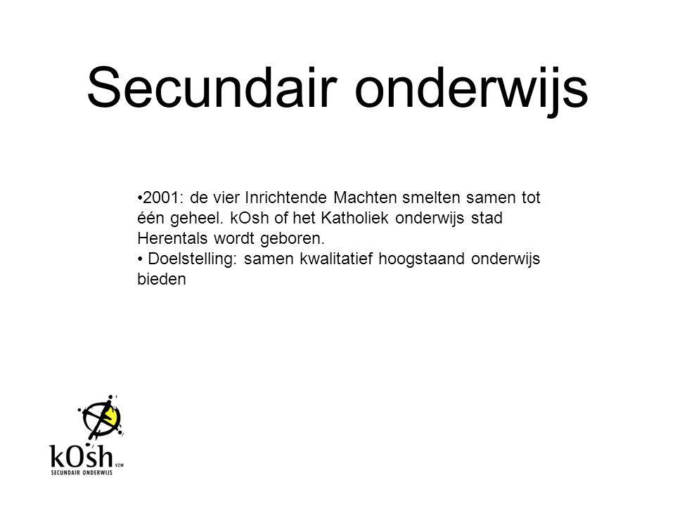 Secundair onderwijs 2001: de vier Inrichtende Machten smelten samen tot één geheel. kOsh of het Katholiek onderwijs stad Herentals wordt geboren.