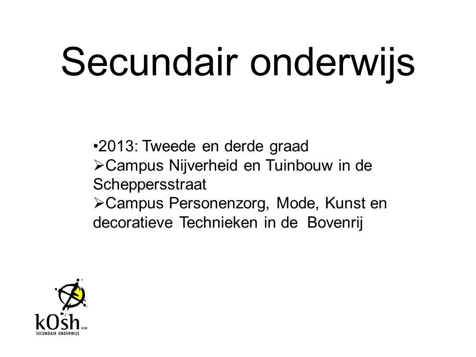 Secundair onderwijs 2013: Tweede en derde graad