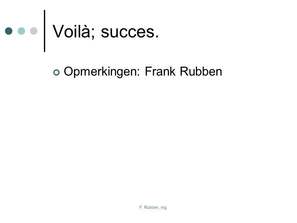 Voilà; succes. Opmerkingen: Frank Rubben F. Rubben, ing.