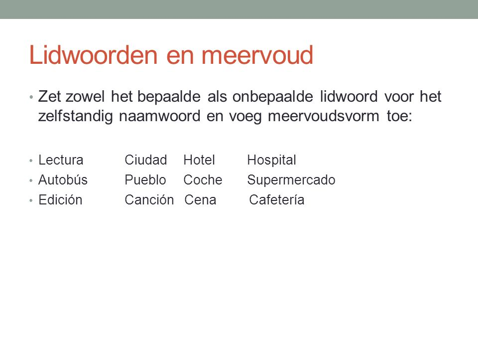 Lidwoorden en meervoud