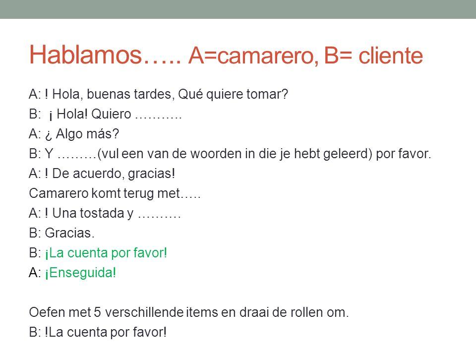 Hablamos….. A=camarero, B= cliente