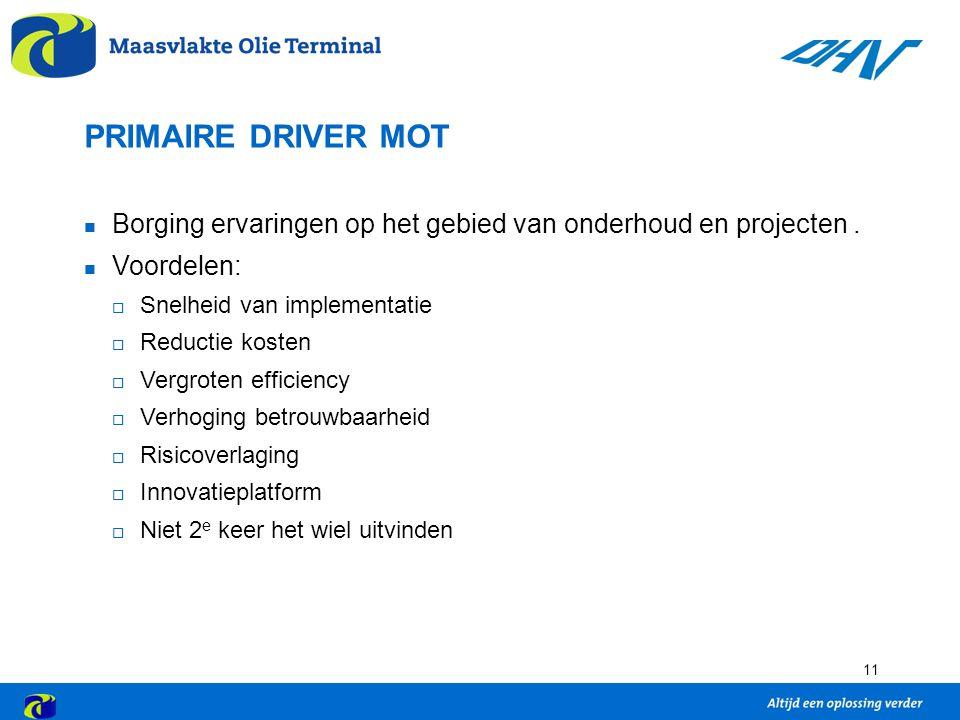 PRIMAIRE DRIVER MOT Borging ervaringen op het gebied van onderhoud en projecten . Voordelen: Snelheid van implementatie.