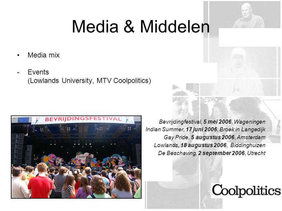 Media & Middelen Bevrijdingfestival, 5 mei 2006, Wageningen Media mix
