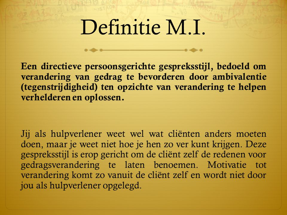 Definitie M.I.