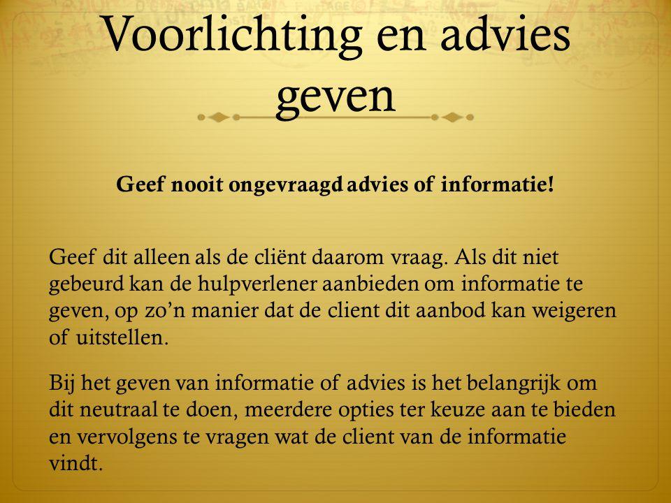 Voorlichting en advies geven