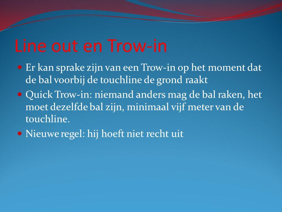 Line out en Trow-in Er kan sprake zijn van een Trow-in op het moment dat de bal voorbij de touchline de grond raakt.