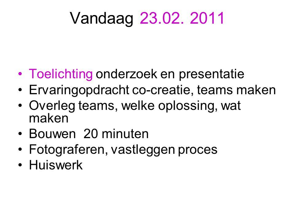 Vandaag 23.02. 2011 Toelichting onderzoek en presentatie