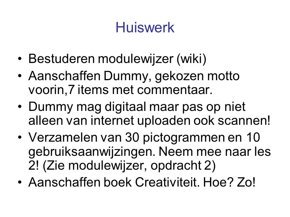 Huiswerk Bestuderen modulewijzer (wiki)