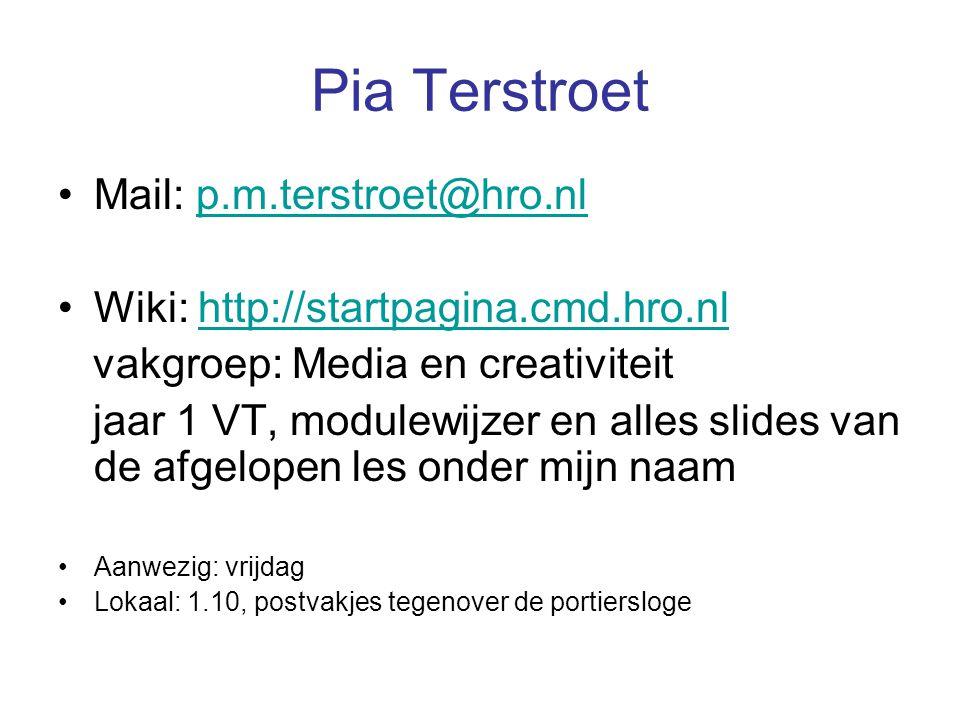 Pia Terstroet Mail: p.m.terstroet@hro.nl