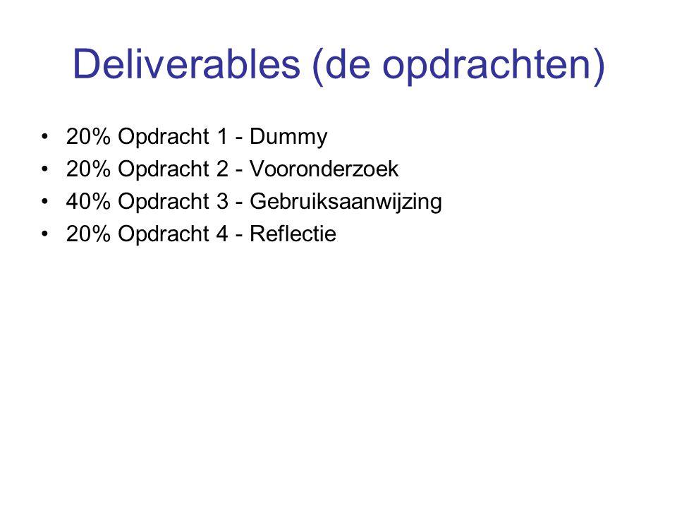 Deliverables (de opdrachten)