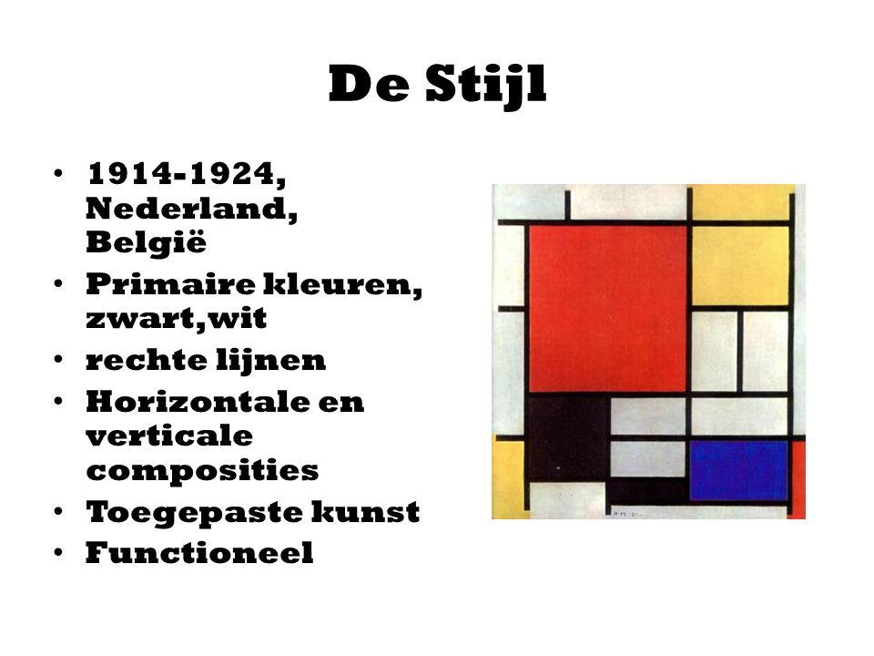 De Stijl 1914-1924, Nederland, België Primaire kleuren, zwart,wit