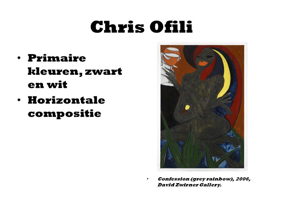 Chris Ofili Primaire kleuren, zwart en wit Horizontale compositie