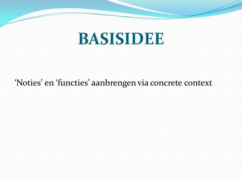 BASISIDEE 'Noties' en 'functies' aanbrengen via concrete context