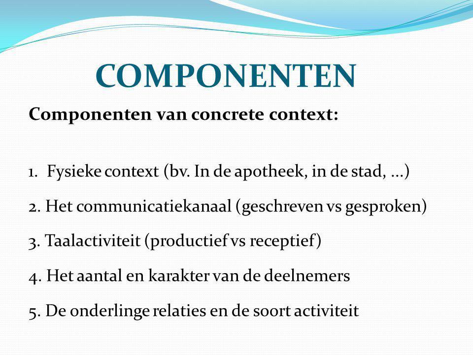Componenten Componenten van concrete context: