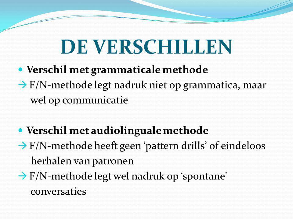 DE VERSCHILLEN Verschil met grammaticale methode