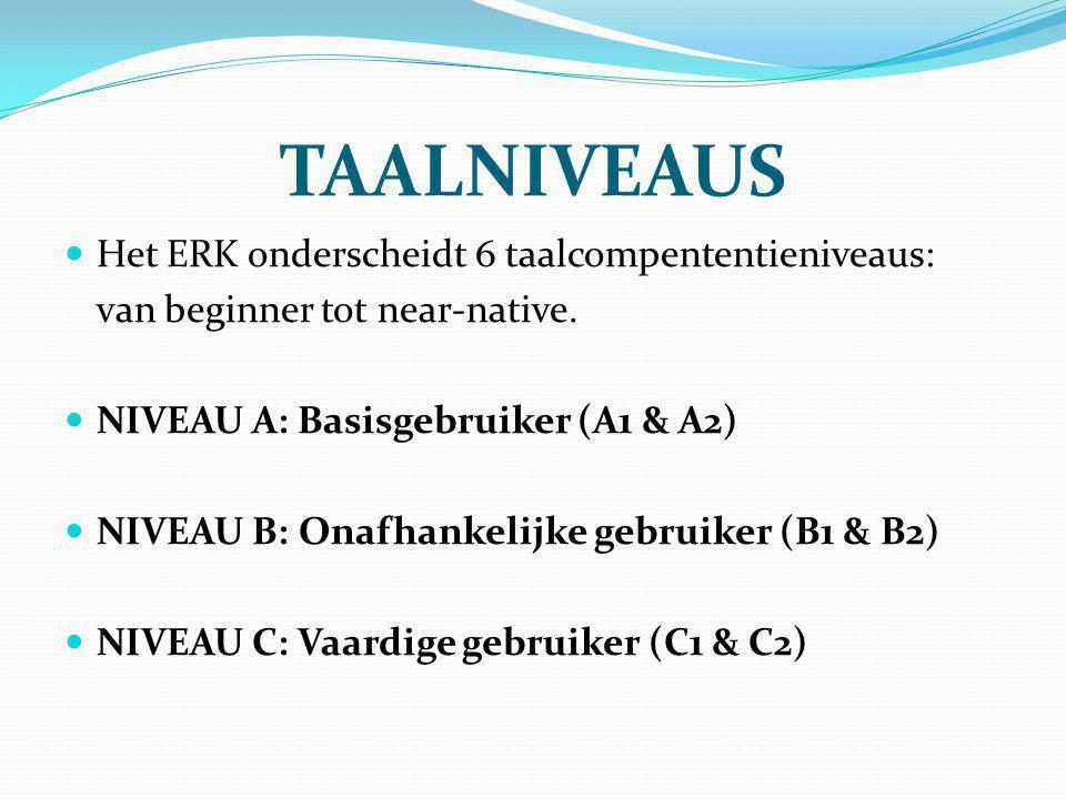 TAALNIVEAUS Het ERK onderscheidt 6 taalcompententieniveaus: