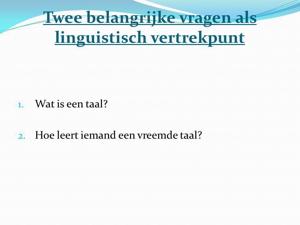 Twee belangrijke vragen als linguistisch vertrekpunt