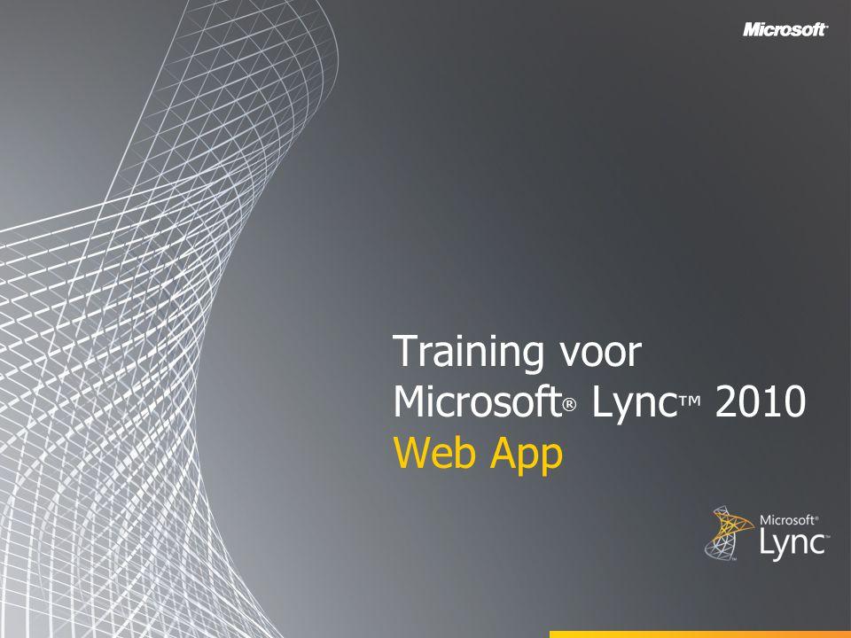 Training voor Microsoft® Lync™ 2010 Web App