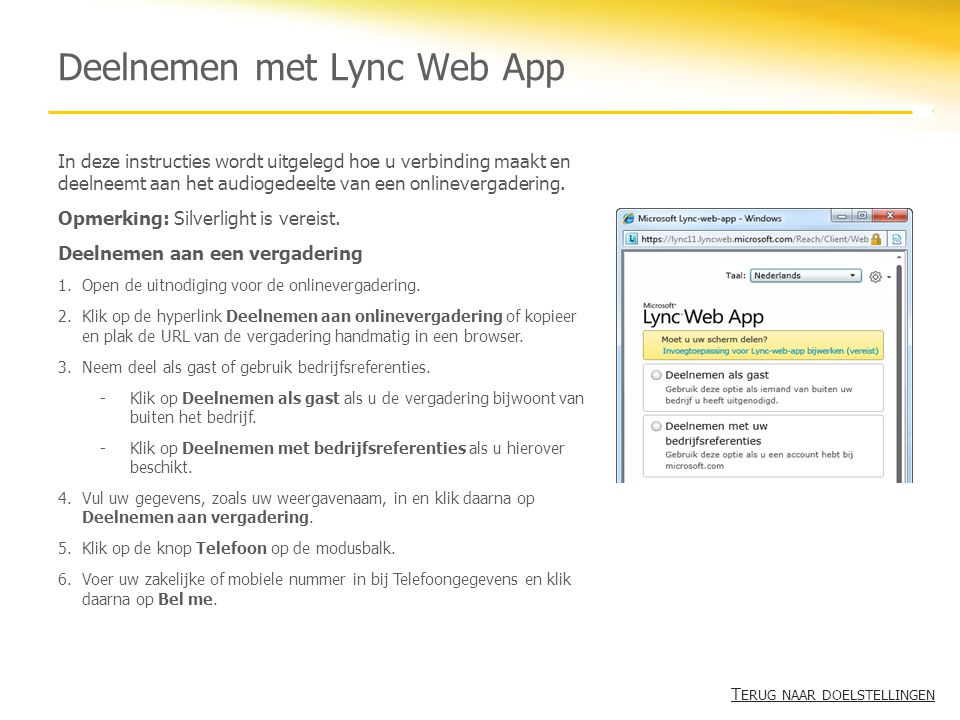 Deelnemen met Lync Web App