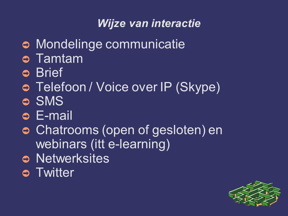 Mondelinge communicatie Tamtam Brief Telefoon / Voice over IP (Skype)